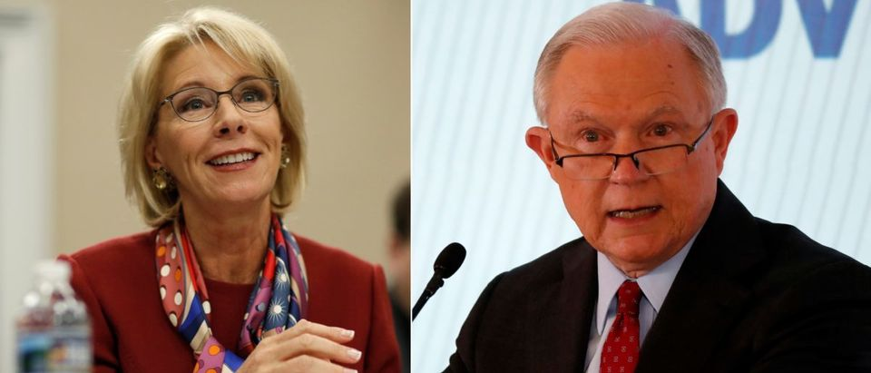 Betsy DeVos and Jeff Sessions. (Left photo: REUTERS/Jim Bourg. Right photo: REUTERS/Joshua Roberts)