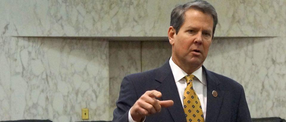 Georgia Secretary of State Brian Kemp speaks in Atlanta