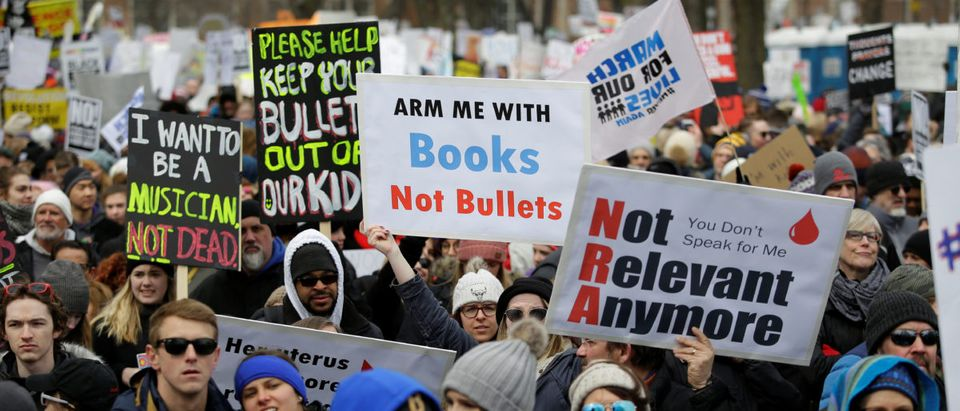 "Students and gun control advocates attend the ""March for Our Lives"" event after recent school shootings, at a rally in in Chicago"