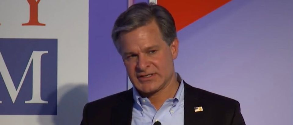 FBI Director Christopher Wray speaks at the Aspen Security Forum, July 18, 2018. (Youtube screen grab)