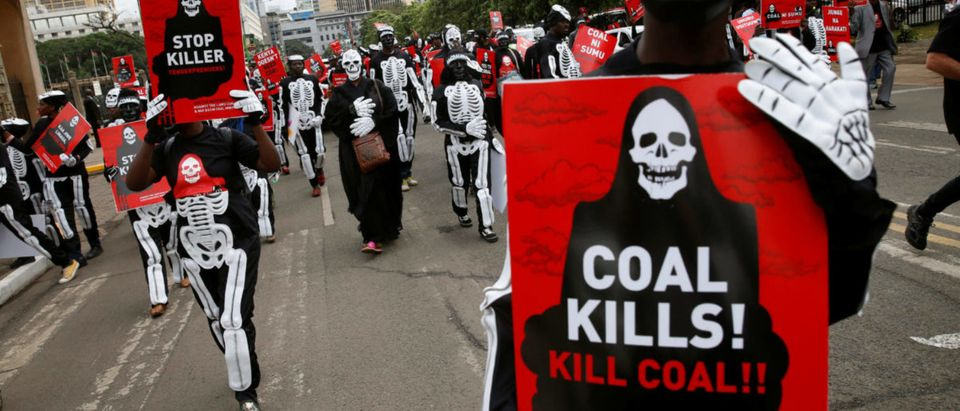 Environmental activists wearing costumes carry placards as they protest against a planned coal plant during the World Environment Day in Nairobi