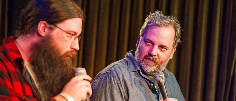 """LOS ANGELES, CA - JULY 12: Spencer Crittenden (L) and actor/writer Dan Harmon attend the Seeso original screening of """"HarmonQuest"""" with Dan Harmon at The Virgil on July 12, 2016 in Los Angeles, California. (Photo by Emma McIntyre/Getty Images for Seeso)"""