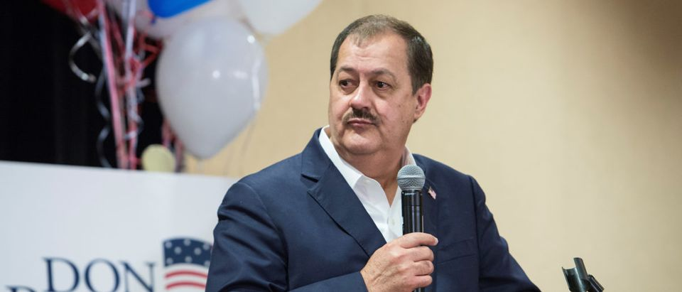 Republican U.S. Senate candidate Don Blankenship speaks to his supporters during the primary election in Charleston