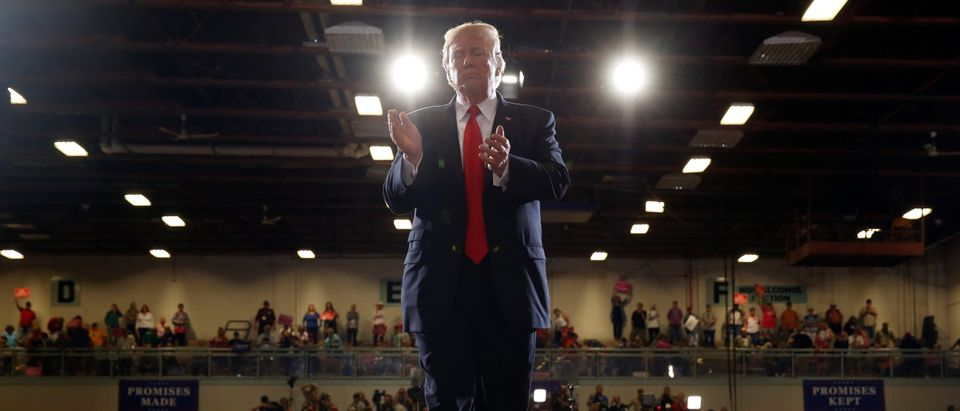 President Donald Trump departs after speaking at a Make America Great Again rally in Great Falls, Montana, July 5, 2018. REUTERS/Joshua Roberts