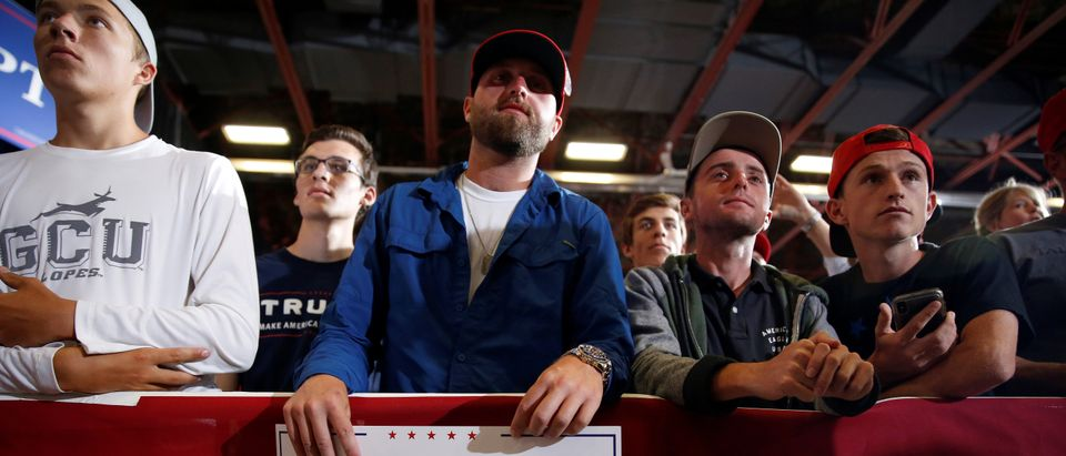 Supporters of U.S. President Donald Trump await his arrival at a Make America Great Again rally in Great Falls, Montana