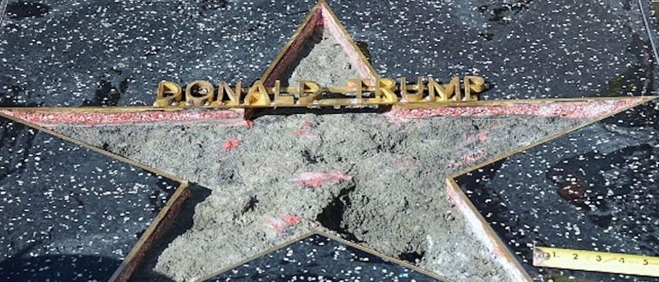 Donald Trump's vandalized Star along the Hollywood Walk of Fame is repaired and cleaned up before being replaced on October 26, 2016 in Hollywood, California. A man defaced Republican presidential candidate Donald Trump's star on the Hollywood Walk of Fame Wednesday, hacking out the gold lettering displaying his name and the television logo. A man who identified himself to a local news agency as James Lambert Otis, said he vandalized the tribute with a sledgehammer and pickaxe, originally intended to remove the entire star from the sidewalk on Hollywood Boulevard. (Photo: FREDERIC J. BROWN/AFP/Getty Images)