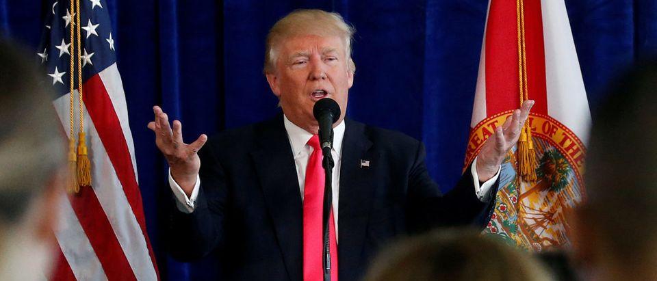 U.S. Republican presidential nominee Trump speaks at a campaign event at Trump Doral golf course in Miami