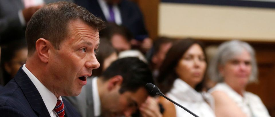"FBI Deputy Assistant Director Peter Strzok testifies before a House Committees on the Judiciary and Oversight & Government Reform joint hearing on ""Oversight of FBI and DOJ Actions Surrounding the 2016 Electionin Washington, U.S., July 12, 2018. REUTERS/Leah Millis"