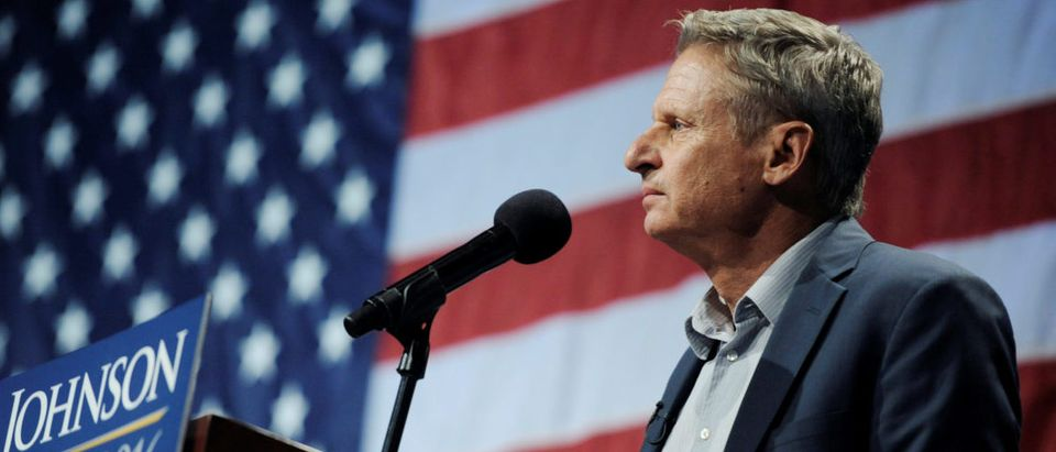 Libertarian presidential candidate Gary Johnson speaks at a rally in New York
