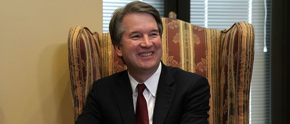 WASHINGTON, DC - JULY 19: Supreme Court nominee Judge Brett Kavanaugh during a meeting with U.S. Sen. Dean Heller (R-NV) on Capitol Hill July 18, 2018 in Washington, DC. Kavanaugh is meeting with members of the Senate after U.S. President Donald Trump nominated him to succeed retiring Supreme Court Associate Justice Anthony Kennedy. (Photo by Alex Wong/Getty Images)
