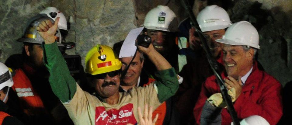 Chilean miner Juan Illanes celebrates af