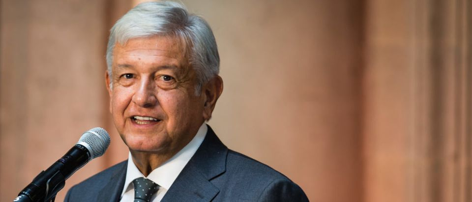 MEXICO CITY, MEXICO - JULY 03: Newly elected President of Mexico, Andres Manuel Lopez Obrador, speaks during a press conference to the media after a private meeting with Outgoing President Enrique Peña Nieto as part of the government transition at Palacio Nacional on July 3, 2018 in Mexico City, Mexico. President elect Andres Manuel Lopez Obrador won the Mexican elections by 53% and will assume office on December 1st, 2018. (Photo by Manuel Velasquez/Getty Images)