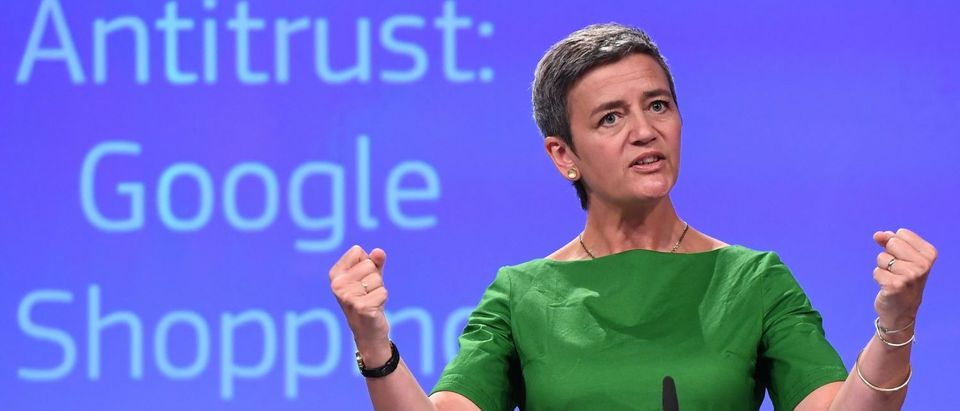 European Commissioner for Competition Margrethe Vestager gestures during a press conference on an antitrust case against US search engine Google at the European Commission in Brussels, on June 27, 2017. The EU hit Google with a record 2.4-billion-euro anti-trust fine today for favouring its own shopping service, in a fresh assault on a US tech giant that risks the wrath of President Donald Trump. (Photo: EMMANUEL DUNAND/AFP/Getty Images)