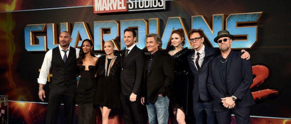 "Cast members Dave Bautista, Zoe Saldana, Pom Klementieff, Chris Pratt, Kurt Russell, Karen Gillan, director James Gunn and Michael Rooker pose as they attend a premiere of the film ""Guardians of the galaxy, Vol. 2"" in London"