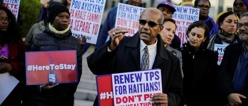 Haitian immigrants and supporters rally to reject DHS Decision to terminate TPS for Haitians, at the Manhattan borough in New York