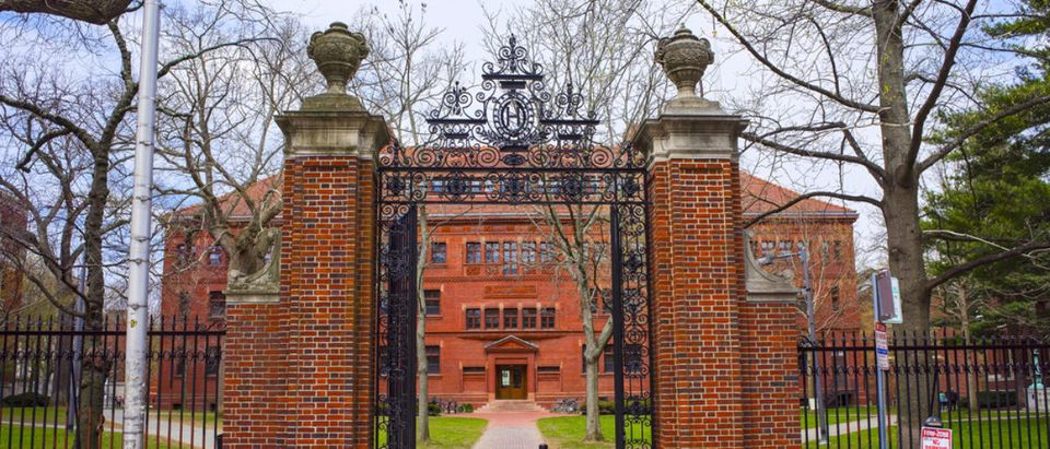 Pictured is the entrance gate and East facade of Sever Hall at Harvard Yard in Harvard University in Cambridge, Massachusetts, MA, USA. It is used as the library, lecture hall, and classroom for different courses. (Shutterstock/Roman Babakin)