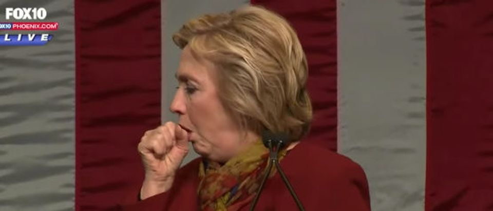 Hillary Clinton has coughing fit while giving speech. FOX 10 Phoenix:Youtube screenshot