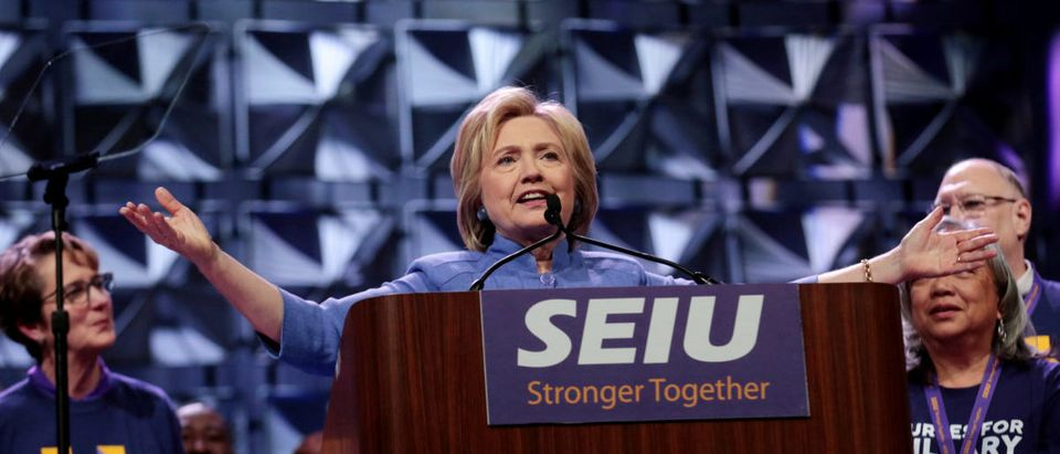 Democratic presidential candidate Hillary Clinton addresses Service Employees Union (SEIU) members at the union's 2016 International Convention in Detroit