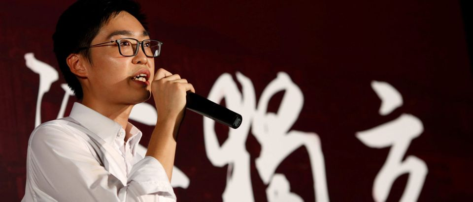 Pro-independence Hong Kong National Party convenor Chan attends a rally in Hong Kong