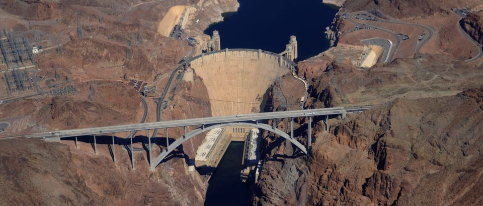The Hoover Dam is pictured from the air on the outskirts of Boulder City