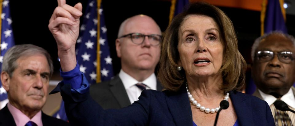 House Minority Leader Nancy Pelosi speaks during a news conference with Democratic leaders