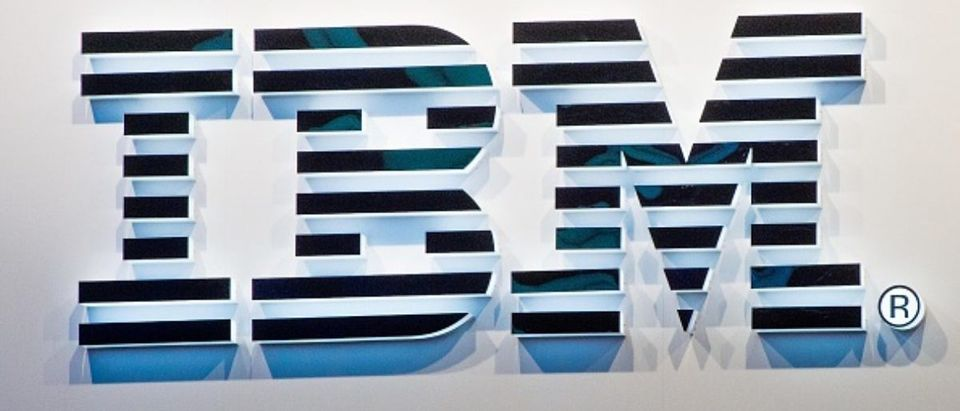 A logo sits illuminated outside the IBM pavilion on the opening day of the World Mobile Congress at the Fira Gran Via Complex on February 22, 2016 in Barcelona, Spain. (Photo by David Ramos/Getty Images)