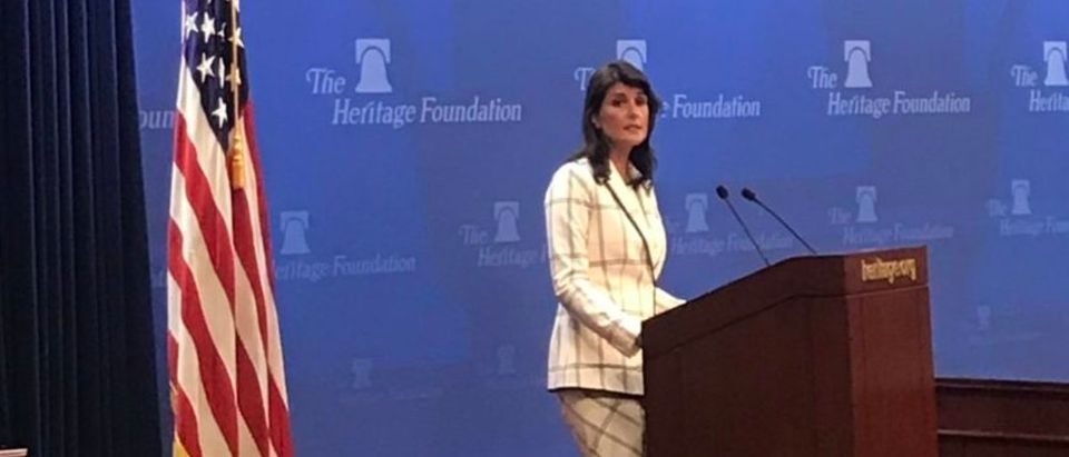 U.S. Ambassador to the United Nations Nikki Haley giving an address at The Heritage Foundation on the U.S. decision to withdraw from UN Human Rights Council. (Hanna Bogorowski/TheDCNF)