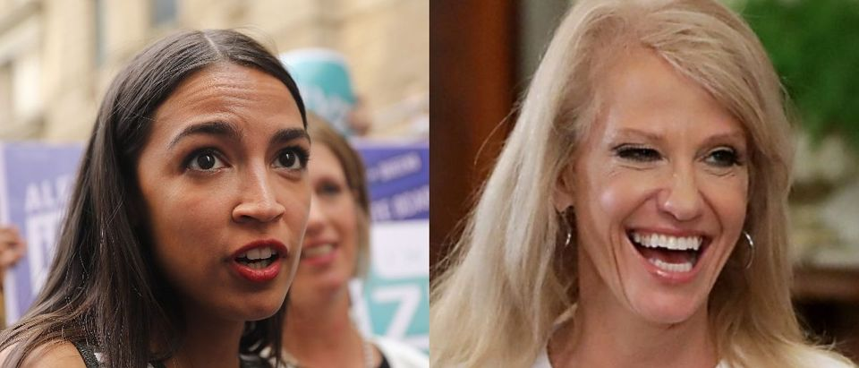 LEFT: Congressional nominee Alexandria Ocasio-Cortez stands with Zephyr Teachout after endorsing her for New York City Public Advocate on July 12, 2018 in New York City. (Photo by Spencer Platt/Getty Images) RIGHT: White House Counselor Kellyanne Conway is introduced to speak during the Faith and Freedom Coalition 2017 annual conference at the Omni Shoreham hotel on June 9, 2017 in Washington, D.C. (Photo by Mark Wilson/Getty Images)