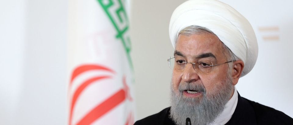 Iran's President Hassan Rouhani attends a news conference at the Chancellery in Vienna