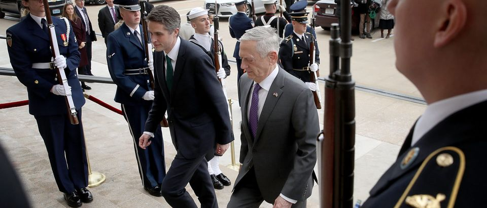 Defense Secretary Mattis Hosts UK Counterpart Gavin Williamson At The Pentagon
