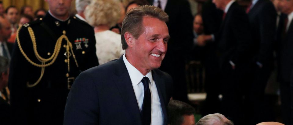 Senator Flake arrives to watch President Trump announce Judge Kavanaugh as his Supreme Court nominee at White House in Washington
