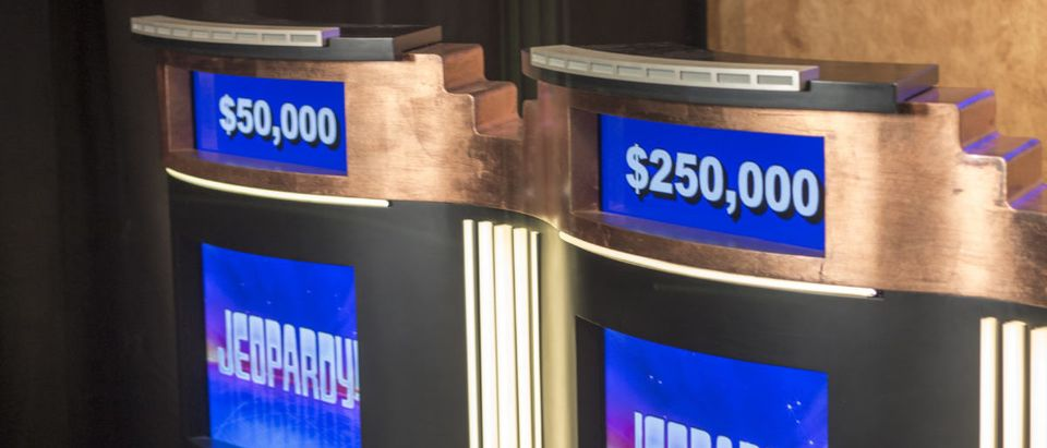 Jeopardy podiums on December 28, 2015 in Culver City. Jeopardy is a popular game show in America -- ShutterStock -- Ryan J. Thompson
