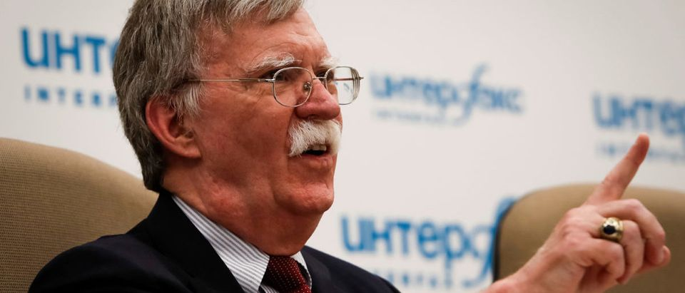 FILE PHOTO: U.S. National Security Adviser John Bolton attends a news conference in Moscow