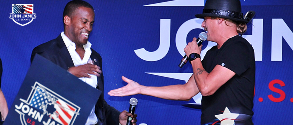 Kid Rock and John James, a GOP candidate for U.S. Senate in Michigan, are pictured. (Courtesy of John James Campaign)