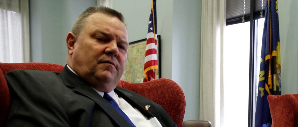 U.S. President Trump's nominee to be U.S. Secretary of Veterans Affairs, Navy Rear Adm. Jackson meets with Senator Tester (D-MT) in Washington