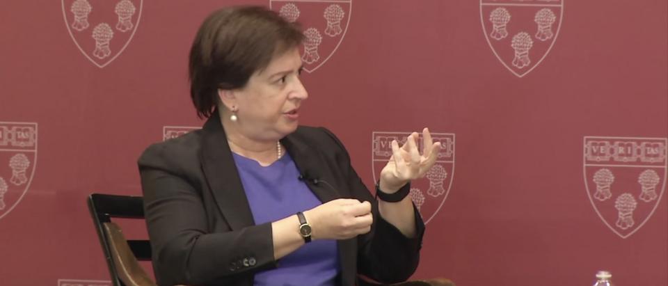 Justice Elena Kagan speaks at Harvard Law School in Nov. 2015. (YouTube screenshot/Harvard Law School)