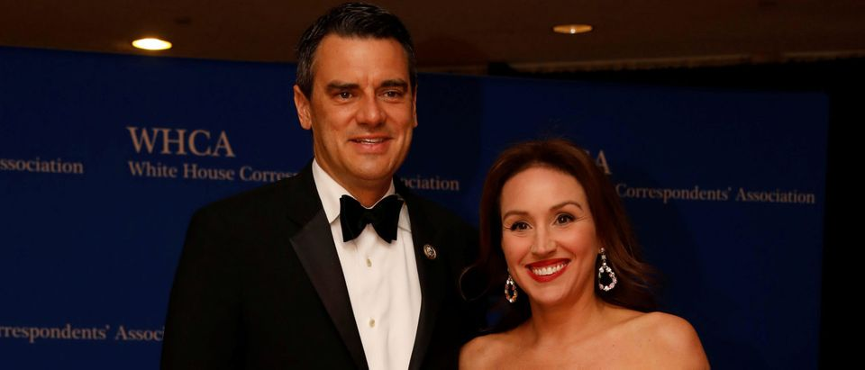 Rep. Yoder arrives with his wife on the red carpet at the White House Correspondents' Association dinner in Washington