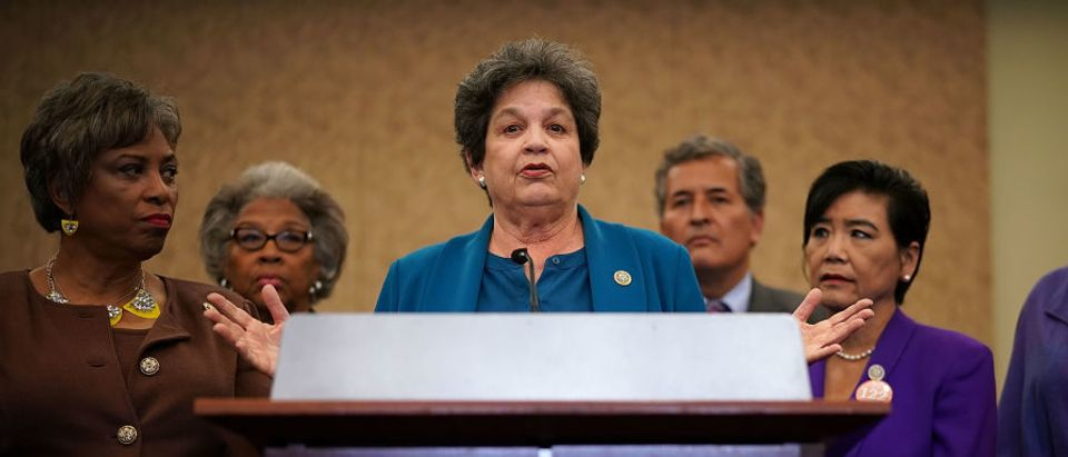 Rep. Lois Frankel (D-FL) (3rd L) speaks as she holds a news conference with other Democratic Congress members, including Rep. Brenda Lawrence (D-MI) (L) and Rep. Judy Chu (D-CA) (5th L), December 12, 2017 on Capitol Hill in Washington, D.C. (Photo by Alex Wong/Getty Images)