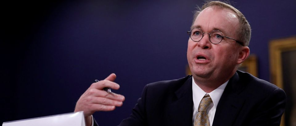 Office of Management and Budget Director Mick Mulvaney testifies before the House Appropriations Subcommittee on Financial Services and General Government on Capitol Hill in Washington