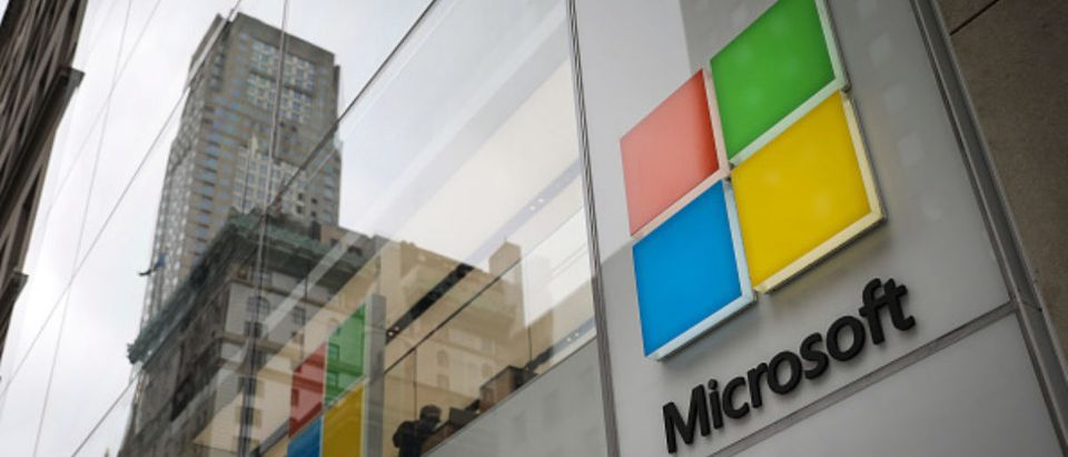 The Microsoft store on Fifth Avenue in Midtown Manhattan is shown June 4, 2018 in New York City. Microsoft officially announced today an agreement to buy GitHub, a code repository company popular with software developers, for $7.5 billion in stock. (Photo by Drew Angerer/Getty Images)