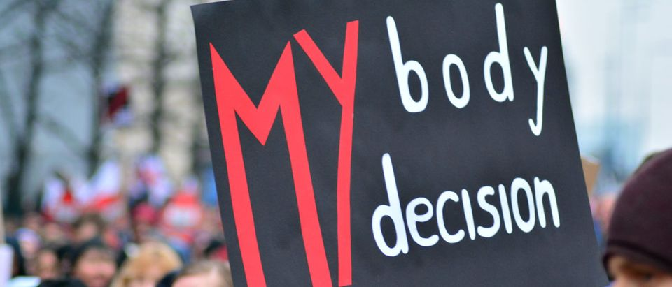 Pictured is a my body my decision poster. (Shutterstock/Grand Warsawski)