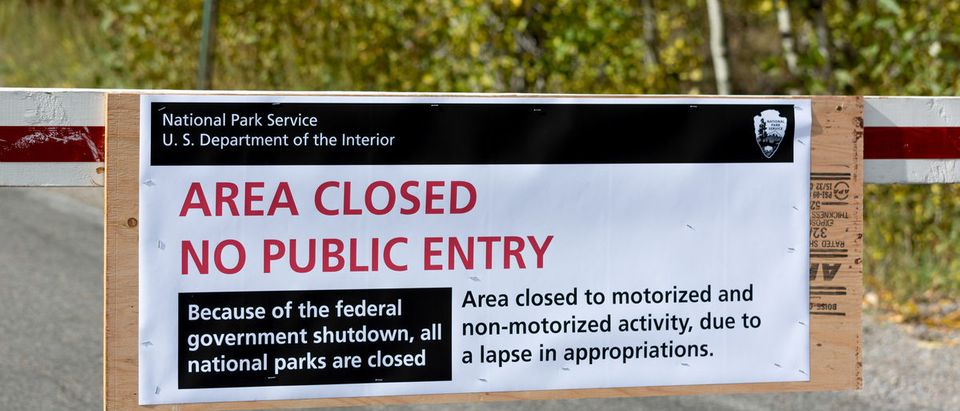 US National Parks closure sign at entrance to the Grand Tetons National Park in Wyoming on October 1, 2013