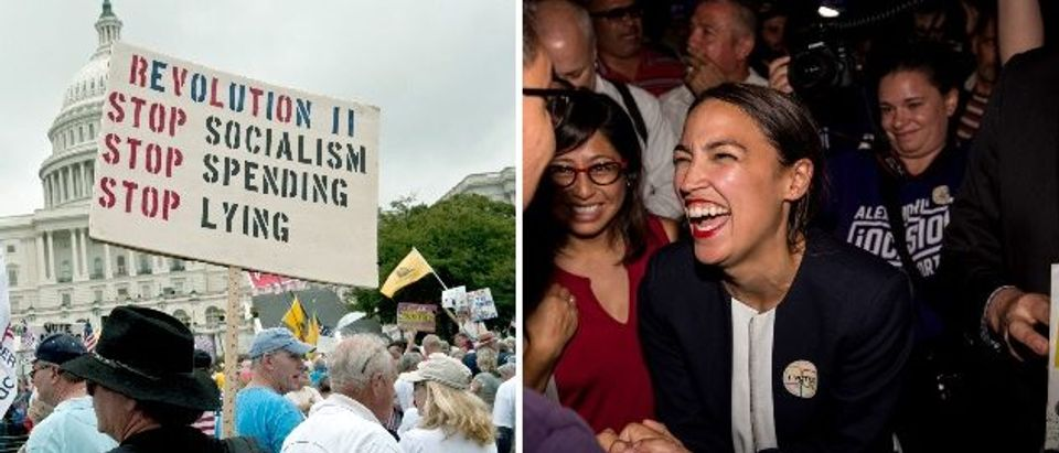 Poll shows Americans don't agree with socialism despite Ocasio Cortez's claims (LEFT: Photo credit should read NICHOLAS KAMM/AFP/Getty Images, RIGHT: Photo by Scott Heins/Getty Images)