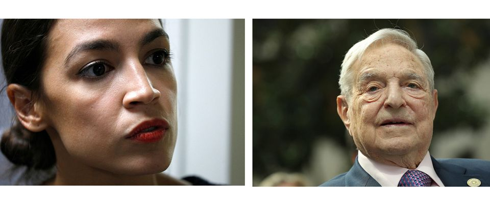New details have emerged revealing that George Soros helped prop-up democratic socialist Alexandria Ocasio-Cortez's political career in an attempt to put 400 Bernie Sanders-like politicians in Congress. Images: (L) Bill Pugliano/Getty Images (R) Sean Gallup/Getty Images