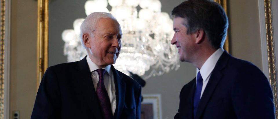 Supreme Court nominee Judge Brett Kavanaugh meets with U.S. Senator Orrin Hatch (R-UT) on Capitol Hill in Washington, U.S., July 11, 2018. REUTERS/Ting Shen