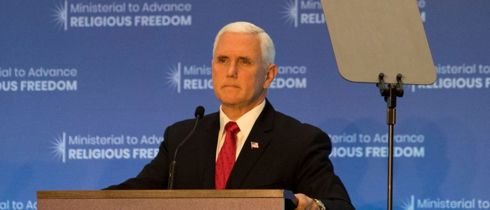 U.S. Vice President Mike Pence speaks at the Ministerial to Advance Religious Freedom at the State Department in Washington, U.S., July 26, 2018. REUTERS/Alex Wroblewski