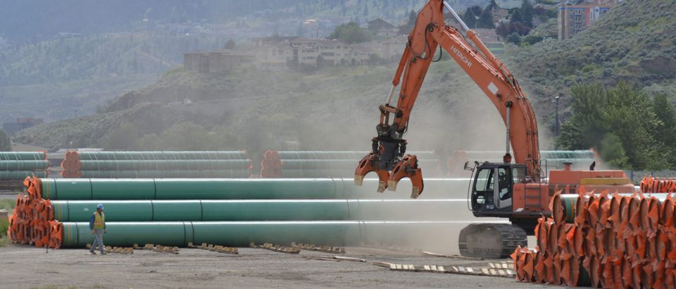 Steel pipe to be used in the pipeline construction of the Trans Mountain Expansion Project at a stockpile site in Kamloops