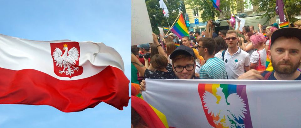 The Polish government might prosecute anyone who waves a rainbow-colored White Eagle flag for desecrating a national symbol. (Left Image: Shutterstock.com Right Image: Twitter Screenshot)