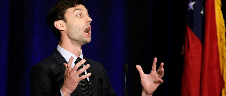 Georgia's Sixth District Congressional candidate Jon Ossoff speaks to his supporters at his Election Night party in Sandy Springs
