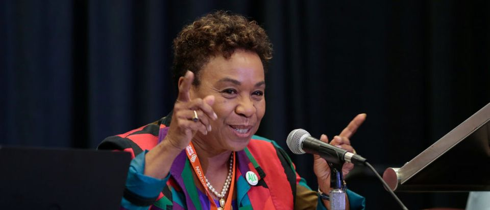 "Rep. Barbara Lee speaks during the ""Progressive While Black"" breakout session at the Netroots Nation annual conference for political progressives in Atlanta"